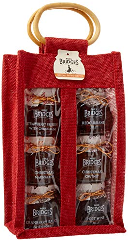 Mrs Bridges Christmas Tasting Set (Strawberry Preserve & Champagne, Christmas Marmalade, Cranberry Sauce with Port, Redcurrant Jelly, Christmas Chutney, Port wine Jelly), 4 Ounce Jars