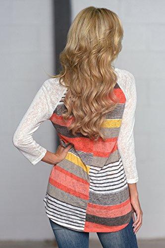 Maglietta T Casual Boho 3 Righe Donna a Manica Camicia Maglia Elegante Maniche Tumblr shirt Top Mezza Hippie Blusa Tunica Stampe Girocollo 4 WP1BFwaxq