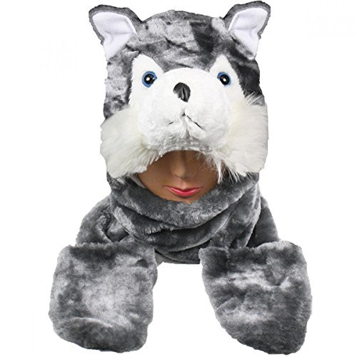 Shih Tzu In Teddy Costume (Husky_(US Seller)Plush animal hats with mittens Cap Earmuff Long)