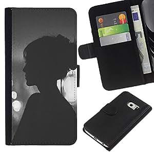 EJOY---La carpeta del tirón la caja de cuero de alta calidad de la PU Caso protector / Samsung Galaxy S6 EDGE / --Viñeta Hipster Mujer Noche