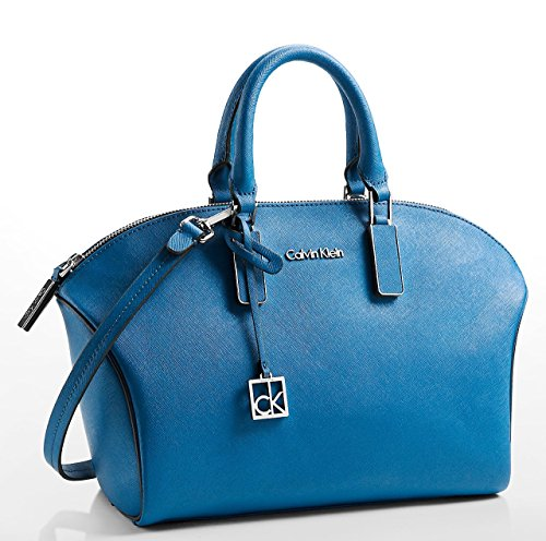 Calvin Klein Scarlett Saffiano Leather City Dome Satchel Bag (fresh Blue) 36185283