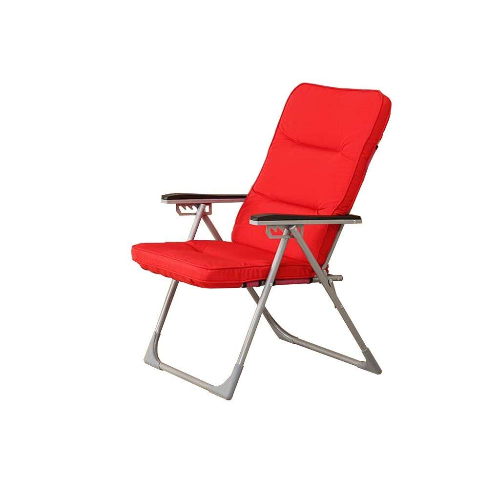 QZ HOME Stühle, Klappstuhl Sonnenliege Mittagspause Stuhl Sessel Tragbar Liegestuhl 4 Farben (Farbe : ROT)