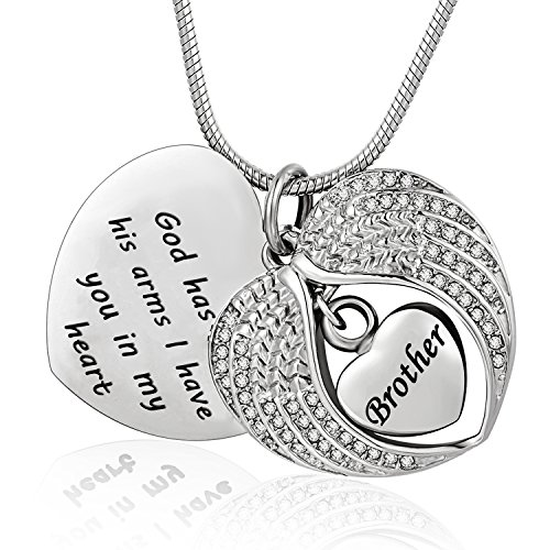 Norya God has You in his arms with Angel Wing Diamond Cremation Jewelry Keepsake Memorial Urn Necklace(Brother)