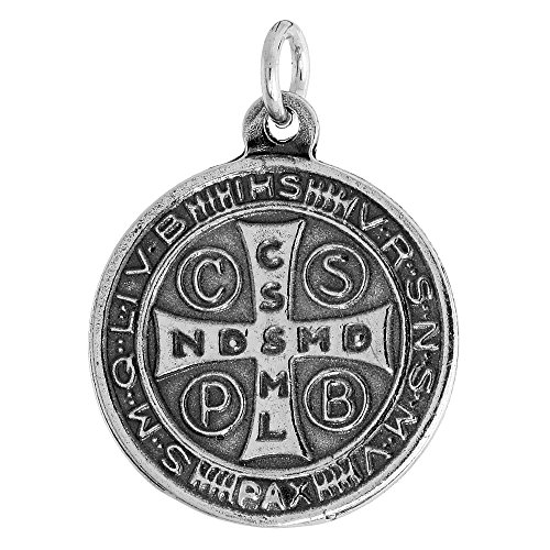 Sterling Silver St Benedict Medal Round 7/8 inch