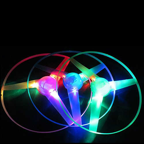 (Newdiva Kids Pull String UFO LED Light Up Flying Saucer Disc toy - Colorful Braided Toy Event Props Slingshot LED Helicopter Toys for Celebrate Birthday Party, Kids Birthdays Gifts (Random))
