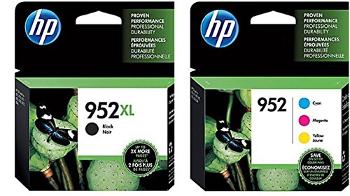 Genuine HP 952XL Black and HP 952 Tri-color Combo Pack in Retail Packaging. USA Market only. Not EU or Grey Market Foreign Imports. F6U19AN#140 N9K27AN#140