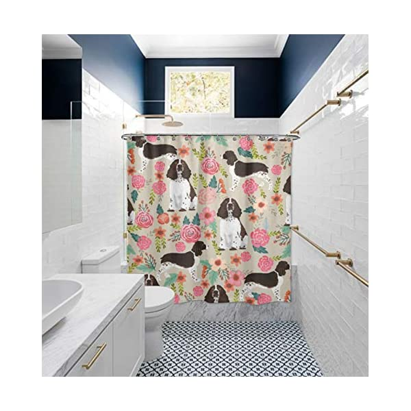 "NiYoung Shower Curtain Decorative Bath Curtain, Bathroom Water-Resistant Bathtub Curtain - English Springer Spaniel, 72"" x 70"" 4"