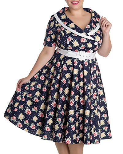 Dunkelblau Damen Kleid Floral mit Hell Rosen Emma Rosen Große Bunny Größen Swingkleid 05EqB