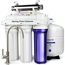 iSpring RCC7U - WQA GOLD SEAL - 6-Stage 75GPD Reverse Osmosis Water Filter System With 11W Flow-sensor UV sanitation stage - ideal for Well Water