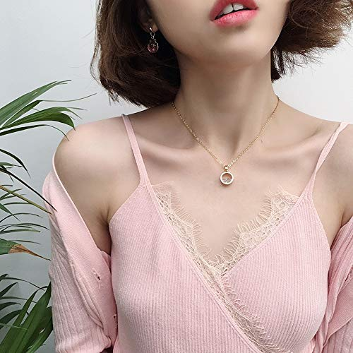 (POLPEP Pools That Twinkle Crystal Necklace Pendant Gift Women Girls Students Unique Neckband Collar Short Clavicle Chain (Golden)