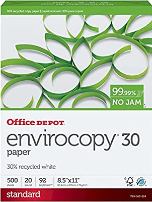 Office Depot EnviroCopy 30% Recycled Copy Fax Laser Inkjet Printer Paper, 8 1/2 x 11 inch Letter Size, 20 Lb., 92 Bright White, Acid-Free, FSC Certified, Ream, 500 Total Sheets (563024)