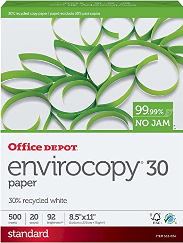 - Office Depot EnviroCopy 30% Recycled Copy Fax Laser Inkjet Printer Paper, 8 1/2 x 11 inch Letter Size, 20 Lb., 92 Bright White, Acid-Free, FSC Certified, Ream, 500 Total Sheets (563024)