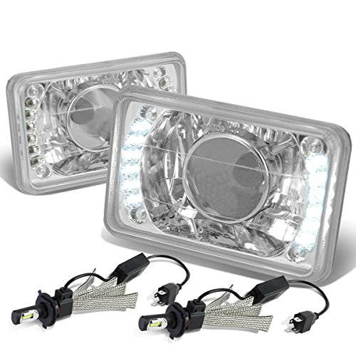 Glass Lens Built-In LED Projector Headlight Set of 2 + H4 LED Conversion Kit ()