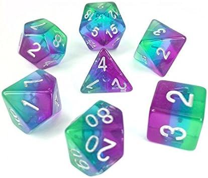 Juego de Dados de Alta definición de poliedros D&D para Dungeon and Dragons RPG Juegos de rol MTG Pathfinder Mesa Top Games 7 Dados Set Blue Aurora: Amazon.es: Juguetes y juegos