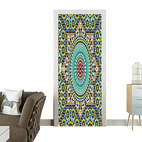 Art Door Stickers Architectural Glazed Decorative Wall Tile Ceramic Historical Travel Destinations Image Door Decals for Home Room DecorationW31 x H79 ()