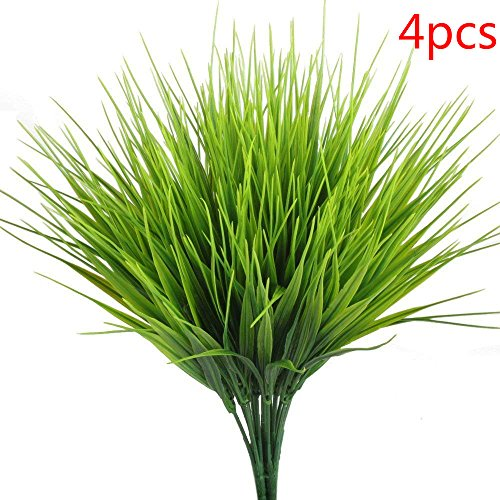 File Invite - Artificial Outdoor Plants, AngleLife 4pcs Fake Plastic Greenery Shrubs Wheat Grass Bushes Flowers Filler Indoor Outside Home House Garden Office Decor