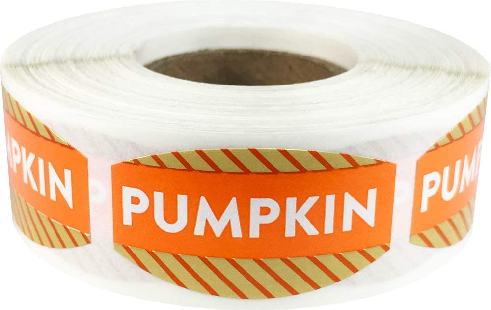 Pumpkin Grocery Store Food Labels .75 x 1.375 Inch Oval Shape 500 Total Adhesive Stickers
