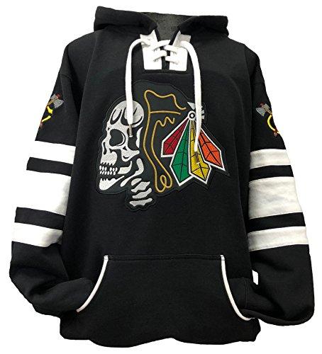 Hoodie Day - Black Hawks Skull Black/White Game Day Hockey Hoodie (Medium)