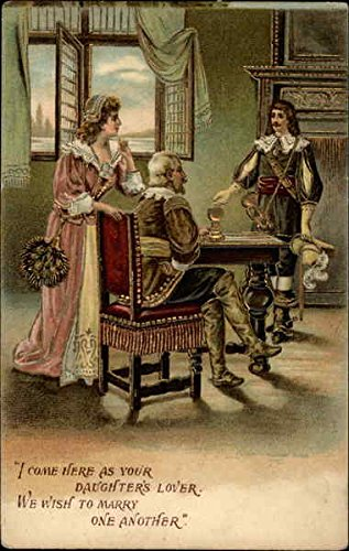 Cavalier Dress (Man in cavalier dress proposes marriage to lady in presence of her father Original Vintage Postcard)