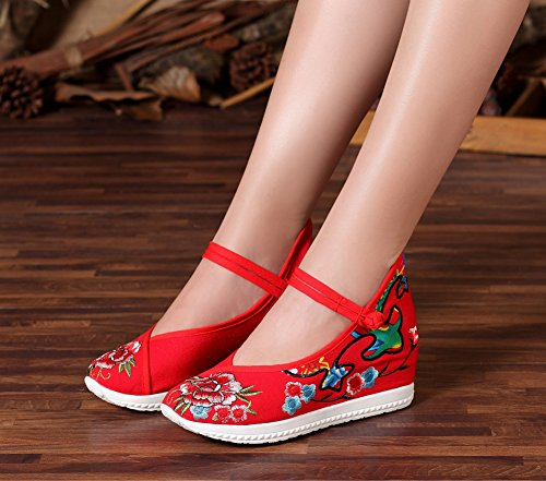AvaCostume Embroidery Beijing Women Shoes Old Jane Increased Wedge Mary Red aRap6q7wx