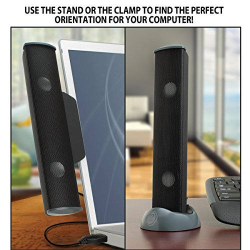 GOgroove USB Laptop Speaker Clip-On Soundbar- SonaVERSE USB (Black) Portable Compact Travel Stereo Speaker Bar Design Uses Single USB Cord for Audio Input & Power - Includes Clip & Desk Stand by GOgroove (Image #5)