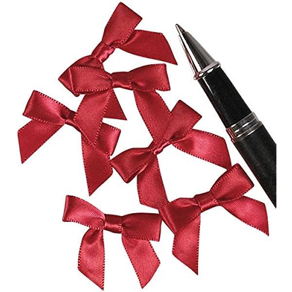 100pcs 3cm Mini Ribbon Bow Tie DIY Gift Decor Scrapbook Making Decor-Red