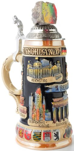Berlin Wall with Landmarks LE Relief German Beer Stein .75L Handcrafted Germany by Pinnacle Peak Trading Company