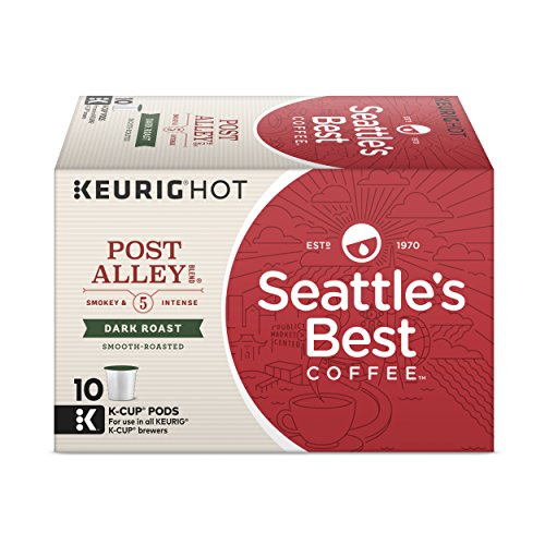 Seattle's Best Coffee Post Alley Blend (Previously Signature Blend No. 5) Dark Roast Single Cup Coffee for Keurig Brewers, 1 Box of 10 (10 Total K-Cup pods)