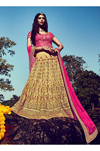 IWS Indian Women Designer Wedding beige Lehenga Choli K-4758-42021
