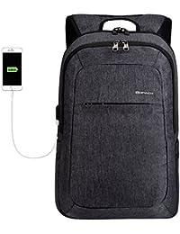 kopack Slim Business Laptop Backpack USB Anti Thief/Tear Water Resistant Travel Computer Backpack 15.6 / 17Inch Grey Black/Grey/Dark Grey