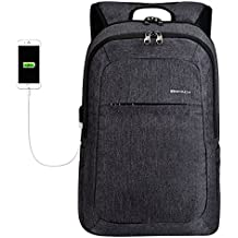 KOPACK Slim Business Laptop Backpack USB Anti Thief/Tear Water Resistant Travel Computer Backpack 15.6 / 17Inch 4Color Magenta/Black/Grey