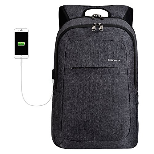 (kopack Laptop Backpack Men USB Port Slim Business Computer Backpack Anti-Theft Water Resistant Travel Laptop Bag Lightweight 15 15.6 inch Gray Black)