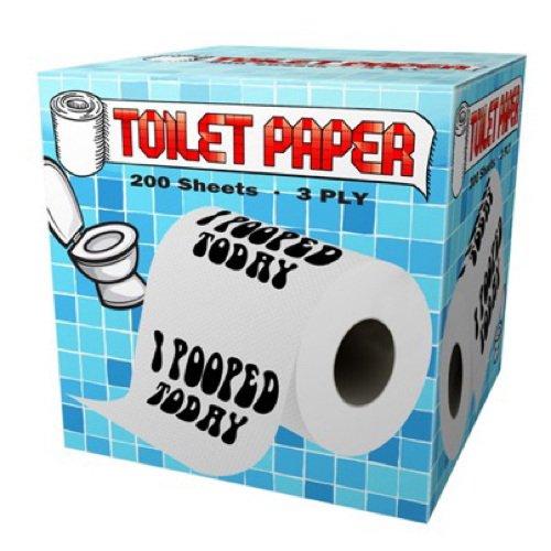 I Pooped Today Design Toilet Paper Roll Tissue Prank Joke Gag Gift