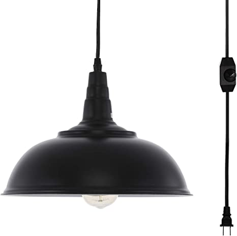 Hmvpl Plug In Pendant Lights With 16 4 Ft Hanging Cord And On Off Dimmer Switch Upgraded Industrial Metal Swag Ceiling Lamp For Dining Room Bedroom Barn Kitchen Island Table Sink Hallway