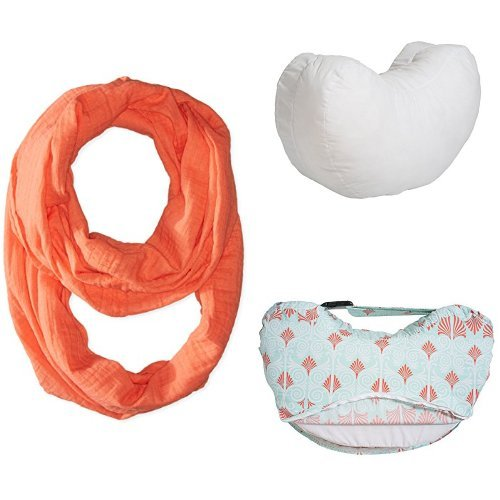Bebe au Lait Premium Muslin Nursing Scarf Set with Simple Nursing Pillow and Slipcover, Sahara/Alexandria