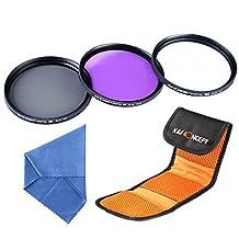 K&F Concept 77mm Slim UV Slim CPL Slim FLD Lens Filter Kit UV Protector Circular Polarizing Filters Set for Canon 6D 5D Mark II 5D Mark III for Nikon D610 D700 D800 DSLR Cameras + Microfiber Lens Cleaning Cloth + Filter Bag Pouch