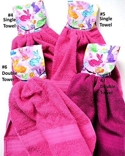 Easter Single or Double Hand Towel,Thick Terry Cloth Towel,Easter Eggs,Bunnies, Baskets, Pastel Bunny Heavy Hand Towel,Bathroom Kitchen