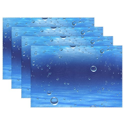 18' Rectangular Tray (U LIFE Mediterranean Ocean Bubble Thick Tray Mat Plate Place Mats Placemats for Kitchen Dining Table 12 x 18 Inch Machine Washable Polyester Fabric Set of 4 or 6 Blue)