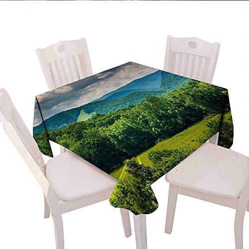 (haommhome Landscape Plaid Tablecloth View of Mountains in Potomac Highlands of West Virginia Rural Scenery Picture Wedding Banquet Tablecloth 70