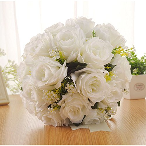 (Maikouhai Holding Flowers, Crystal Rose Pearl Bride Bridesmaid Wedding Bouquet Bridal Silk Artificial Flowers Party Decor for Home Cafe Hotel Bedroom - 28x26cm)