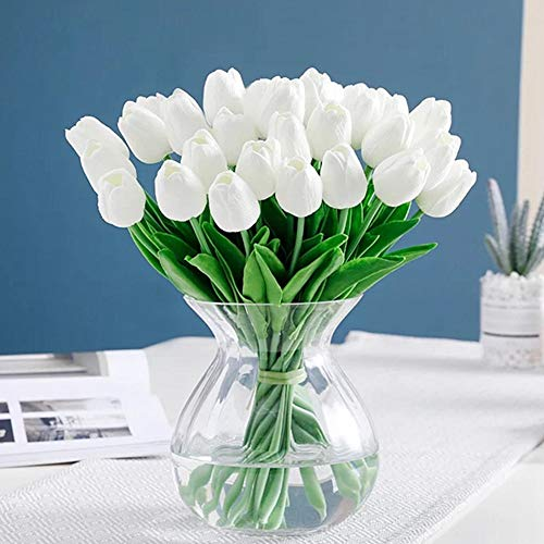 cial Tulips Real Touch PU Flower Arrangement Bouquet Home Wedding Parties Decor (White) ()