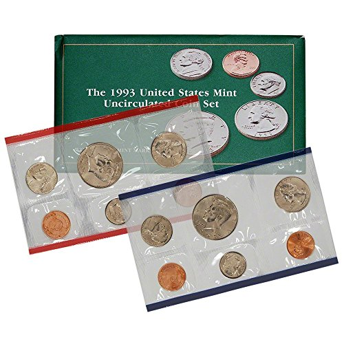 1993 US Mint Uncirculated 10-Coin Set P&D in Original Government Packaging Brilliant Uncirculated Penny Brilliant Uncirculated US - Half Coin Penny