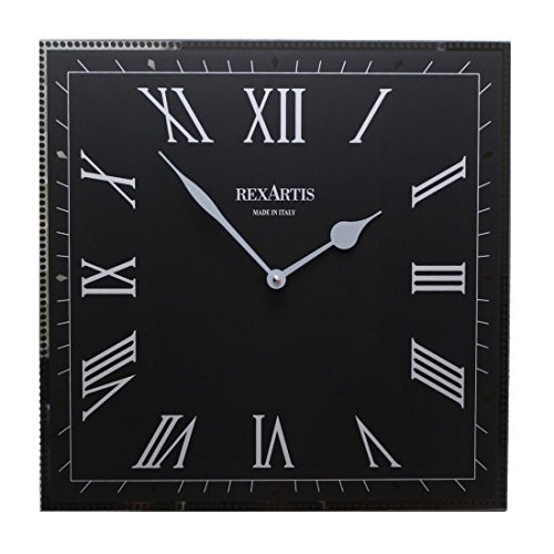 ガラス製掛け時計「CLASSIC」 (ブラック) クラシック モダン スクエア B075FQDQV1 ブラック ブラック