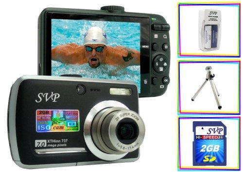 UPC 859108005826, SVP Xthinn-737 Black 7MP 3x Optical zoom 3-inch LCD Digital Camera + FREE 2GB High Speed SD Memory Card & Tripod & AA Rechargeable Set