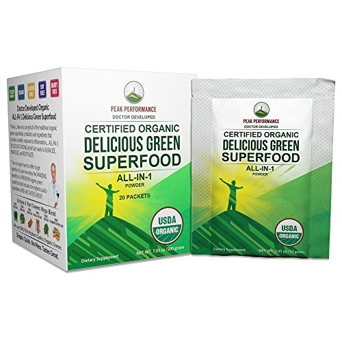 Peak Performance Organic Greens Superfood Powder Single Serve Travel Packets. Best Tasting Organic Green Juice Super Food with 25+ All Natural Ingredients for Max Energy and Detox. (20 Pack) ()