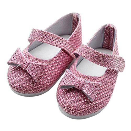 Generations Plum - 18 Inch Doll Shoes for American Girl Doll Our Generation Cuekondy Cute Glitter ,Leopard, Plum Hole Princess Dress Shoe Doll Accessories (Pink)