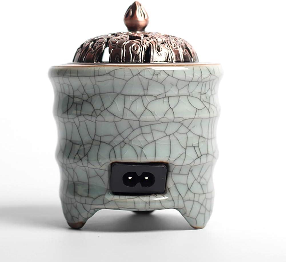 Ceramic Incense Burner Quemador de Incienso de cerámica eléctrico, Tiempo de Quemador de Aceite Esencial de aromaterapia, Porcelana para el hogar, balcón, Patio, Porche y jardín