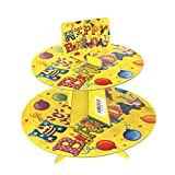 Party Balloons Happy Birthday Cardboard Cupcake Stand, Yellow, 2-Tier, 11-Inch