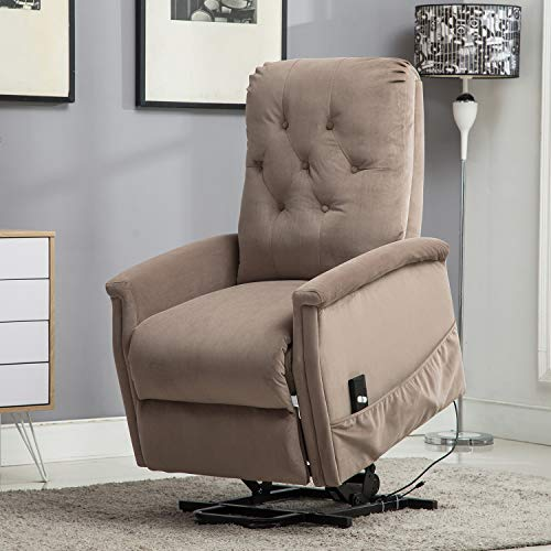 Bonzy Home Recliner Electric Powered Lift Recliner Chair Anti-Skid Velvet Fabric for Elderly with Remote Control - Home Theater Seating - Bedroom & Living Room Recliner Sofa Chair Lift (Camel)