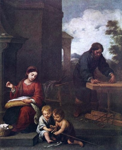Bartolome Esteban Murillo Holy Family with the Infant St John - 24'' x 30'' 100% Hand Painted Oil Painting Reproduction by Art Oyster